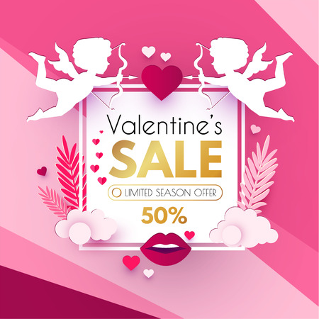 Happy Valentine s Day. Cute Design Template with Hearts, Cloud and Cupid Holding Bow and Arrow. Vector illustration