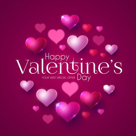 Happy Valentine s Day Design Template with Glossy Hearts. Vector illustration