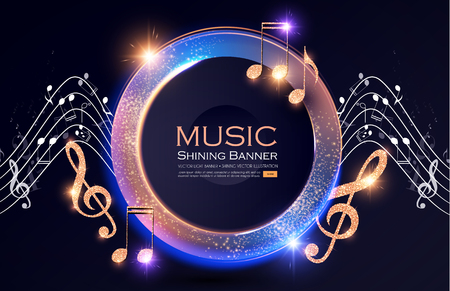 Music Event Shining Banner with Golden Notes and Lights. Festival Design Template. Foto de archivo - 118096588