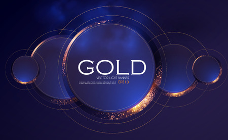 Abstract Overlapping Circles Background with Gold Glitter Effect. Vector illusratration