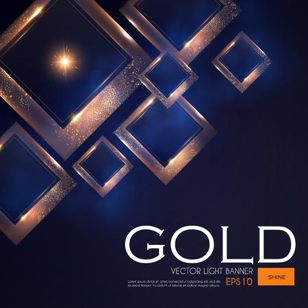 Abstrakter überlappender geometrischer Hintergrund mit Goldglitter-Effekt.Vector illusratration