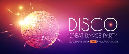 Disco Party Flyer Templatr with Mirror Ball and Light Effects. Standard-Bild - 118096608