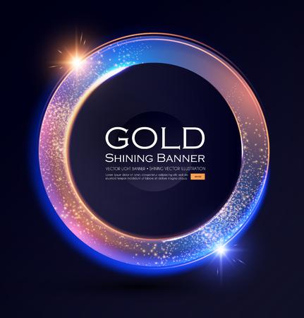 Elegant Shining Circle Banner with Glitter Light Effect. Vector illusratration