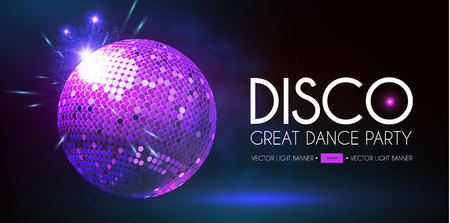 Disco Party Flyer Template with Mirror Ball and Light Effects. Ilustração