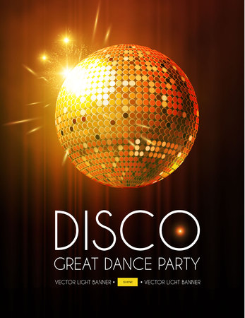 Disco Party Flyer Templatr with Mirror Ball, Stage Curtain and Light Effects.Vector illustration Standard-Bild - 125849512
