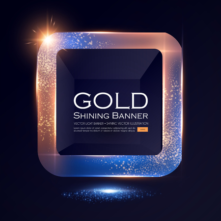 Elegant Shining Square Banner with Glitter Light Effect. Vector illusratration