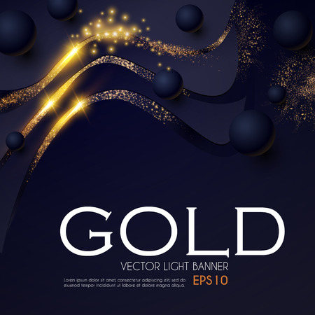 Abstract Light Waves Background with Gold Glitter Effect and Flying Spheres. Vector illusratration