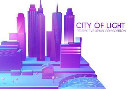 3D City Concept. Urban Background with Skyscrappers. Perspective Scene. Vector illustration Stock Vector - 125617310