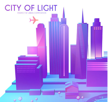 3D City Concept. Urban Background with Skyscrappers. Perspective Scene. Vector illustration Stock Vector - 125617311