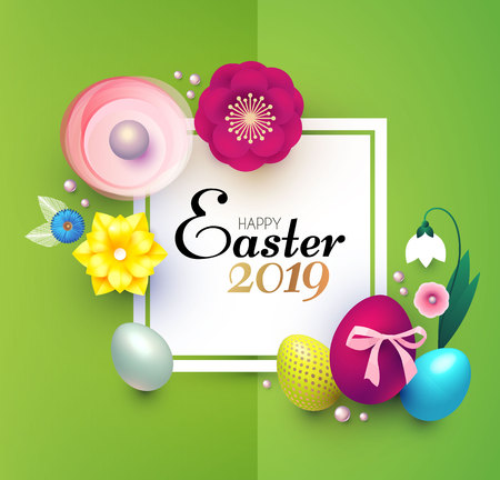Happy Easter Design Template with Realistic Colorful Eggs and Spring Flowers. Vectores