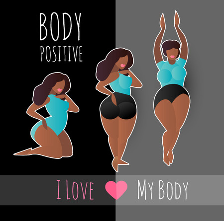 Body Positive. Happy and Beautiful Plus Size Girls. Feminism. Girl Power.