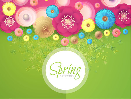 Flower Paper Cut Spring Design Template with REalistic Shadows. Vector illustration Reklamní fotografie - 125330957