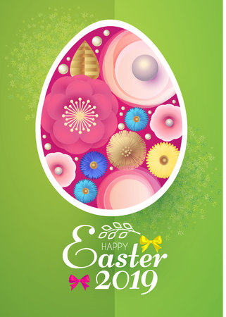 Happy Easter Card Template with Egg Desorated with Spring Flowers. Vector illustration