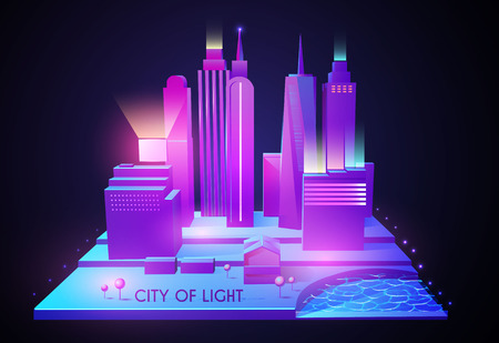 3D City Concept. Urban Background with Skyscrappers. Perspective Scene. Night Lights Design. Vector illustration