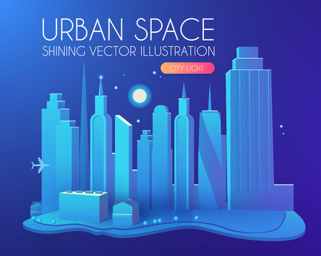 3DCity Concept. Urban Background with Skyscrappers. Perspective Scene. Vector illustration Çizim