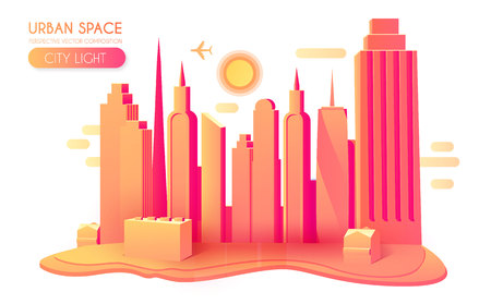 3D City Concept. Urban Background with Skyscrappers. Perspective Scene. Vector illustration