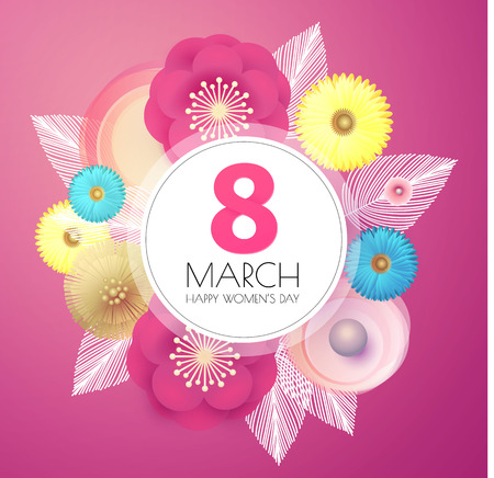 8 March. Women s Day. Paper Cut Flower Background. Spring is Here.