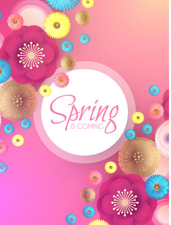 Flower Paper Cut Spring Design Template with REalistic Shadows. Illustration