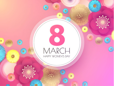 8 March. Womens Day. Paper Cut Flower Background. Spring is Here. Illustration