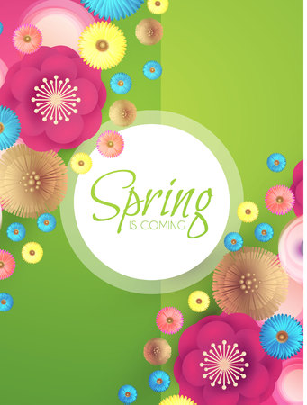 Flower Paper Cut Spring Design Template with REalistic Shadows. Vector illustration