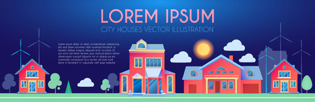 House Exterior. Town Landscape. Houses along the Street. Flat Cottages. Vector illustration