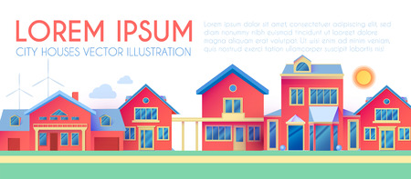 House Exterior. Town Landscape. Houses along the Street. Flat Cottages. Vector illustration
