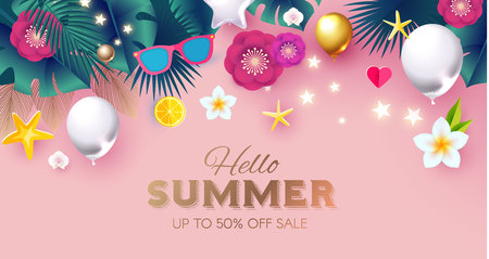 Summer Sale Tropical Background with Leaves, Flowers, Balloons. Lights and Neon Effects. Vector illustration