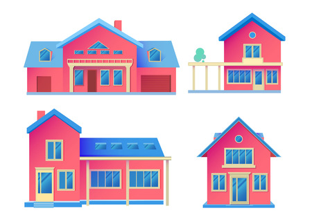 House Facade. Building Front View. Cottage Concept. Illustration