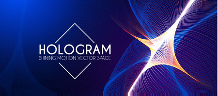 Hologram. Abstract Background with Motion Lights. Shining Space. Vector illustration