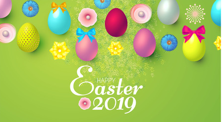 Happy Easter Design Template with Realistic Colorful Eggs,Banner, Spring Flowers and Grass. Illustration
