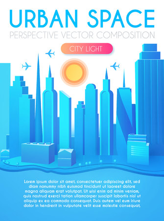 3D City Concept. Urban Background with Skyscrappers. Perspective Scene.