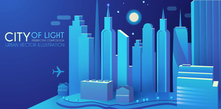 3DCity Concept. Urban Background with Skyscrappers. Perspective Scene. Vector illustration Illustration