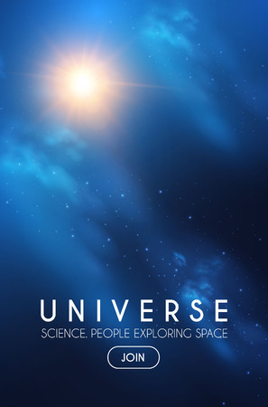 Universo. Espacio infinito con nebulosa y luz estelar. Cosmos. Desenfoque de fondo brillante. Ilustración de vector