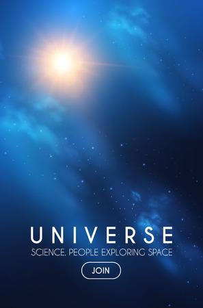 Universo. Spazio infinito con nebulosa e luce stellare. Cosmo. Brillante sfocatura dello sfondo. Vettoriali