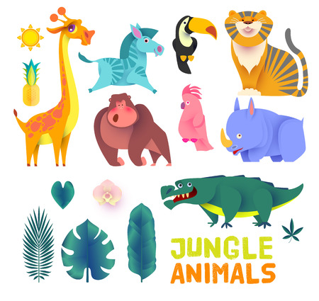 Cute Jungle Animals Set. Exptic Wild Collection. Vector illustration