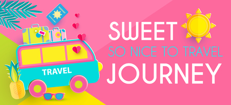 Sweet Journey. Vacation and Travel Design Template. Papercraft.