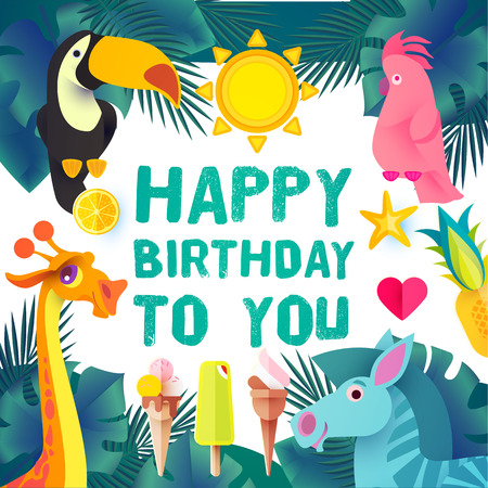 Children Birthday Design Template. Exotic Jungle Animals. Papercraft. Vector illustration Illustration