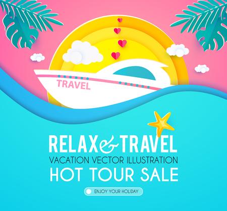 Hot Vacation Design Template. Summer Travel. Enjoy Sea Holidays. Vector illustration Vetores