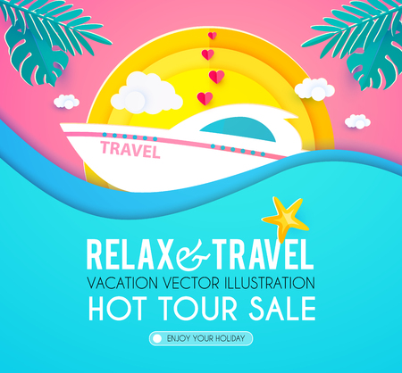 Plantilla de diseño de vacaciones calientes. Viajes de verano. Disfrute de las vacaciones en el mar. Ilustración vectorial Ilustración de vector