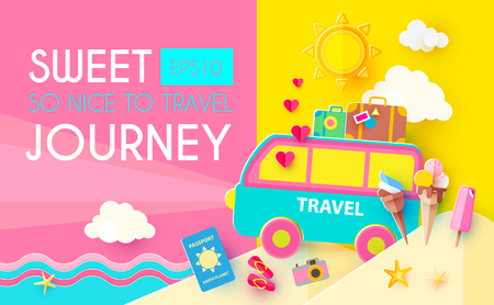 Sweet Journey. Vacation and Travel Design Template. Papercraft. Vector illustration