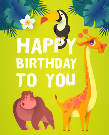 Jungle Patry. Exotic Animals Design Template. Tropic Event. Hot Birthday. Vector illustration 向量圖像