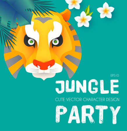 Jungle Patry. Design Template with Tiger Face. Tropic Event. Hot Birthday. Vector illustration Illustration