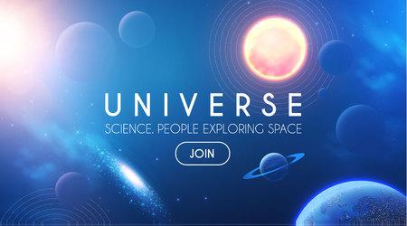 Planetas en el universo con luces de estrellas, nebulosas y galaxias. Espacio 3D realista. Diseño Cosmos.