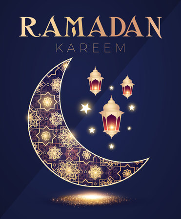 Tamadan Kareem Greeting Card with Filigree Shining Crescent Moon and Lanterns. Ilustracja