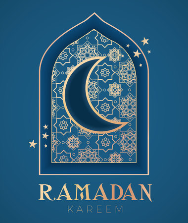 Ramadan Kareem Greeting with Mosque Door, Gold Oriental Pattern and Crescent Moon with Stars. Vettoriali