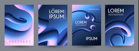 Liquid Color Collection. Fluid Gradient Design Template Set. Motion Space.