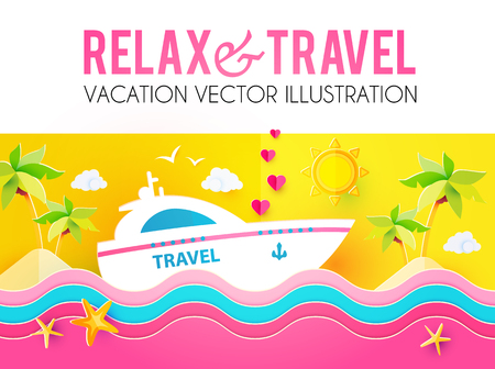 Hot Vacation Design Template. Summer Travel. Enjoy Sea Holidays. Vector illustration  イラスト・ベクター素材