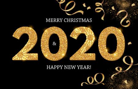 Feliz año nuevo 2020 brillante tarjeta de felicitación con globos brillantes realistas con serpentina.