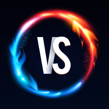 Versus Sign with Burning Fire Effect. Power Space. Illustration