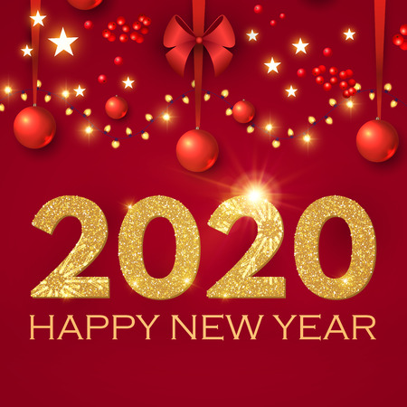 Happy New 2020 Year Realistic Christmas Composition with Glossy Toys, Red Bow, Berries and Lights.